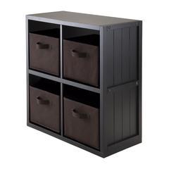 Winsome Wood 5-Pc Wainscoting Panel Shelf 2 X 2 With 4 Chocolate Fabric Baskets