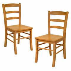 Winsome Wood Benjamin 2-Pc Set Ladder Back Chair Light Oak, 16.6 x 20.5 x 34.7, Light Oak