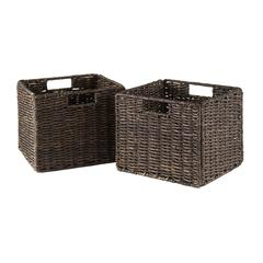 Winsome Wood Granville Foldable 2-Pc Small Corn Husk Baskets, Chocolate, 10.24 x 11.02 x 9.06, Chocolate