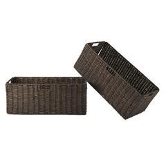 Winsome Wood Granville Foldable 2-Pc Large Corn Husk Baskets, Chocolate, 22.83 x 10.24 x 9.06, Chocolate