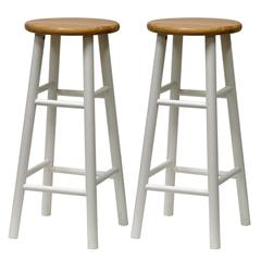 """Winsome Wood Tabby 2-Pc 30"""" Bar Stool Set Natural & White, 13.5 x 13.5 x 30, Natural & White"""