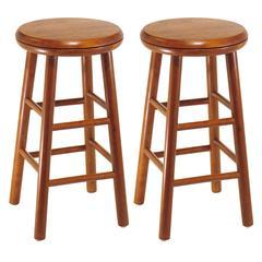 "Winsome Wood Oakley 2-Pc 24"" Swivel Seat Bar Stool Set Cherry, 12.8 x 12.8 x 25.28, Cherry"