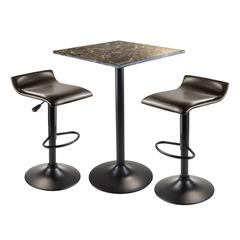 Winsome Wood Cora 3Pc Square Counter Height Table With 2 Swivel Stools