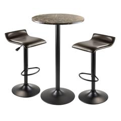 Winsome Wood Cora 3Pc Round Pub Table With 2 Swivel Stools