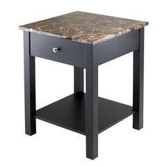 Winsome Wood Torri Accent Table with Drawer, Faux Marble Top