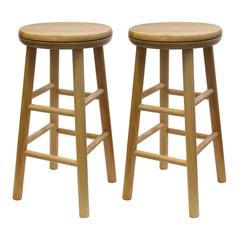 "Winsome Wood Oakley 2-Pc 24"" Swivel Seat Bar Stool Set Beech, 12.8 x 12.8 x 25.28, Beech"