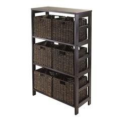 Winsome Wood Granville 7Pc Storage Shelf With 6 Foldable Baskets, Espresso, 25.2 x 11.22 x 42, Espresso / Chocolate