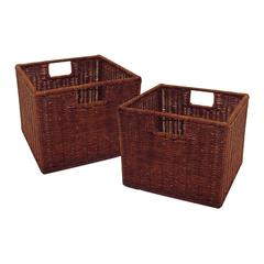 Winsome Wood Leo Set of 2, Wired Basket, Small, 10.04 x 11.02 x 9, Antique Walnut