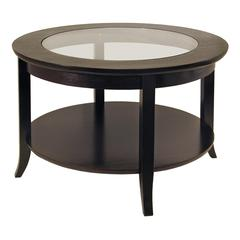 Winsome Wood Genoa Coffee Table, Glass Inset And Shelf, 30 x 30 x 18.03, Dark Espresso