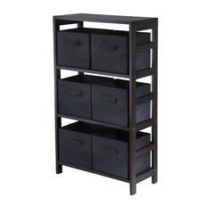 Winsome Wood Capri 3-Section M Storage Shelf With 6 Foldable Black Fabric Baskets, 25.2 x 11.2 x 42, Espresso / Black