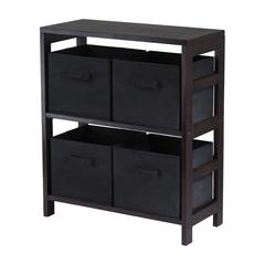 Winsome Wood Capri 2-Section M Storage Shelf With 4 Foldable Black Fabric Baskets, 25.2 x 11.22 x 29.21, Espresso / Black