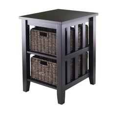Winsome Wood Morris Side Table With 2 Foldable Baskets, 16.54 x 20.08 x 25.04, Espresso