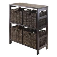 Winsome Wood Granville 5Pc Storage Shelf With 4 Foldable Baskets, Espresso, 25.2 x 11.22 x 29.21, Espresso / Chocolate