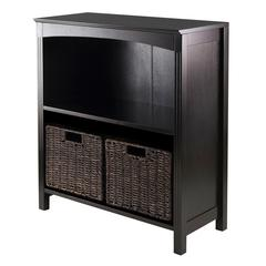 Winsome Wood 3Pc Storage 3-Tier Shelf With 2 Small Baskets, 25.98 x 11.81 x 30, Dark Espresso