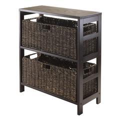 Winsome Wood Granville 3Pc Storage Shelf With 2 Large Baskets, Espresso, 25.2 x 11.22 x 29.21, Dark Espresso