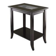 Winsome Wood Genoa Rectangular End Table With Glass Top And Shelf, 23.94 x 16.3 x 25.04, Dark Espresso