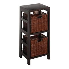 Winsome Wood Leo 3Pc Shelf And Baskets; One Shelf, 2 Small Baskets; 2 Cartons, 13.39 x 11.22 x 29.21, Espresso