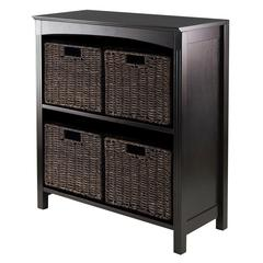 Winsome Wood 5Pc Storage 3-Tier Shelf With 4 Small Baskets, 25.98 x 11.81 x 30, Dark Espresso