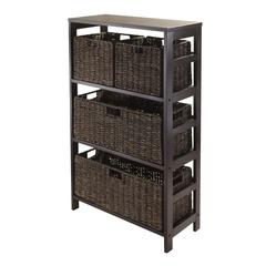 Winsome Wood Granville 5Pc Storage Shelf With 2 Large And 2 Small Foldable Baskets, Espresso, 25.2 x 11.2 x 42, Dark Espresso