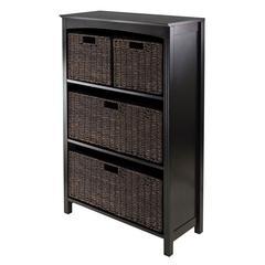 Winsome Wood 5Pc Storage 4-Tier Shelf, W/2 Large & 2 Small Baskets, 25.98 x 11.81 x 42.99, Dark Espresso