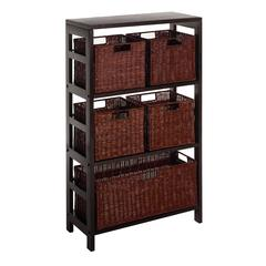 Winsome Wood Leo 6Pc Shelf And Baskets; Shelf, 4 Small And 1 Large Baskets; 3 Cartons, 25.2 x 11.2 x 42, Espresso