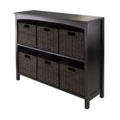 Winsome Wood 7Pc Storage 3-Tier Shelf With 6 Small Baskets, 37 x 11.81 x 30, Dark Espresso