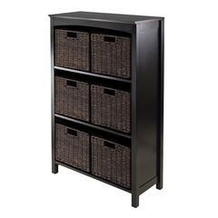 Winsome Wood 7Pc Storage 4-Tier Shelf With 6 Small Baskets, 25.98 x 11.81 x 42.99, Dark Espresso