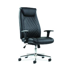 Executive Chair | Height-Adjustable Arms | Black Leather | Chrome Accents
