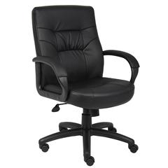 Boss Executive Mid Back Leatherplus Chair W/ Knee Tilt