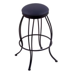 "3000 Georgian 25"" Counter Stool with Black Wrinkle Finish, Allante Dark Blue Seat, and 360 swivel"