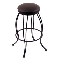 "Holland Bar Stool Co. 3000 Georgian 30"" Bar Stool with Black Wrinkle Finish, Allante Espresso Seat, and 360 swivel"