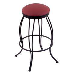 "Holland Bar Stool Co. 3000 Georgian 30"" Bar Stool with Black Wrinkle Finish, Allante Wine Seat, and 360 swivel"