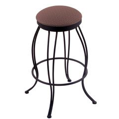 "Holland Bar Stool Co. 3000 Georgian 30"" Bar Stool with Black Wrinkle Finish, Axis Willow Seat, and 360 swivel"