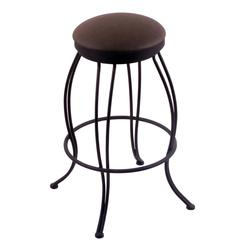 "3000 Georgian 25"" Counter Stool with Black Wrinkle Finish, Rein Coffee Seat, and 360 swivel"