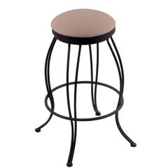"3000 Georgian 30"" Bar Stool with Black Wrinkle Finish, Rein Thatch Seat, and 360 swivel"