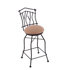 "Holland Bar Stool Co. 3010 Aspen 30"" Bar Stool with Black Wrinkle Finish, Allante Beechwood Seat, and 360 swivel"