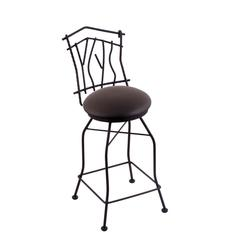 "Holland Bar Stool Co. 3010 Aspen 25"" Counter Stool with Black Wrinkle Finish, Allante Espresso Seat, and 360 swivel"