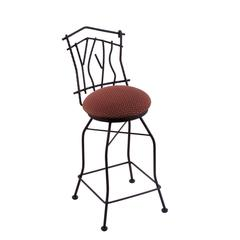 "Holland Bar Stool Co. 3010 Aspen 25"" Counter Stool with Black Wrinkle Finish, Axis Paprika Seat, and 360 swivel"
