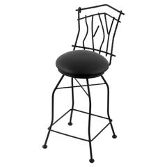 "Holland Bar Stool Co. 3010 Aspen 30"" Bar Stool with Black Wrinkle Finish, Black Vinyl Seat, and 360 swivel"