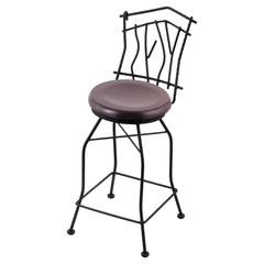 "Holland Bar Stool Co. 3010 Aspen 30"" Bar Stool with Black Wrinkle Finish, Dark Cherry Maple Seat, and 360 swivel"