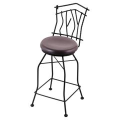 "3010 Aspen 30"" Bar Stool with Black Wrinkle Finish, Dark Cherry Oak Seat, and 360 swivel"