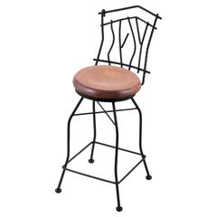 "3010 Aspen 30"" Bar Stool with Black Wrinkle Finish, Medium Maple Seat, and 360 swivel"