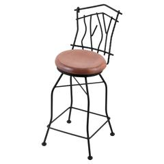 "3010 Aspen 30"" Bar Stool with Black Wrinkle Finish, Medium Oak Seat, and 360 swivel"