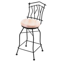 "3010 Aspen 25"" Counter Stool with Black Wrinkle Finish, Natural Maple Seat, and 360 swivel"