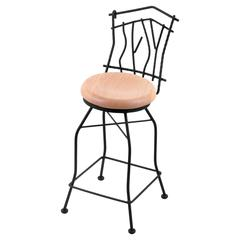 "3010 Aspen 30"" Bar Stool with Black Wrinkle Finish, Natural Oak Seat, and 360 swivel"