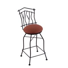 "3010 Aspen 30"" Bar Stool with Black Wrinkle Finish, Rein Adobe Seat, and 360 swivel"
