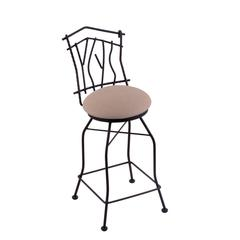 "3010 Aspen 25"" Counter Stool with Black Wrinkle Finish, Rein Thatch Seat, and 360 swivel"