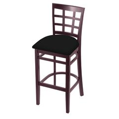 "Holland Bar Stool Co. 3130  25"" Stool with Dark Cherry Finish, Black Vinyl Seat"