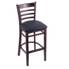 "3140 25"" Stool with Dark Cherry Finish, Allante Dark Blue Seat"