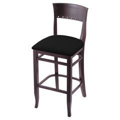 "Holland Bar Stool Co. 3160  25"" Stool with Dark Cherry Finish, Black Vinyl Seat"